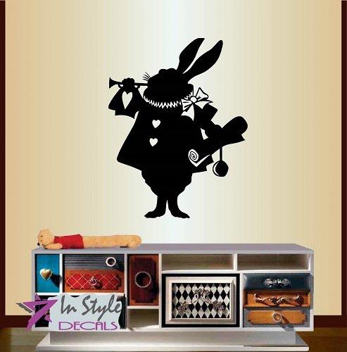 Wall Vinyl Decal Home Decor Art Sticker Bunny Rabbit Trumpet Animal Alice in Wonderland Kids Nursery Baby Room Removable Stylish Mural Unique (Alice In Wonderland Shop)
