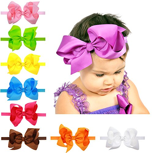20 Pcs 6inches Baby Girls Headbands Grosgrain Ribbon Big Hair Bows for Infant - Heads With Girls Big