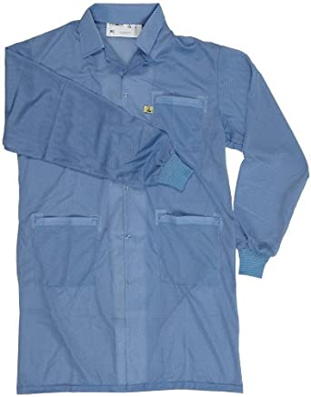 """Desco 73611 Smock Statshield Labcoat with Cuffs, 38-1/2"""" Length, Small, Blue"""