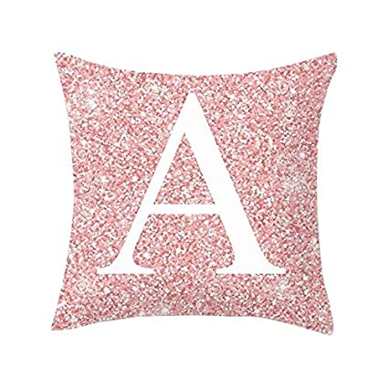 Amazon.com: DRAGONHOO Throw Pillow Covers Pink Letter ...