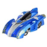Fun Little Toys Zero Gravity Wall Climber Racer Vehicle Drive Up Any Smooth Surface USB Remote Control Electric RC Blue Fire Driving Car (Blue)