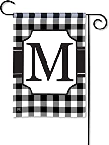 BreezeArt Studio M Black & White Check Monogram M Decorative Garden Flag – Premium Quality, 12.5 x 18 Inches
