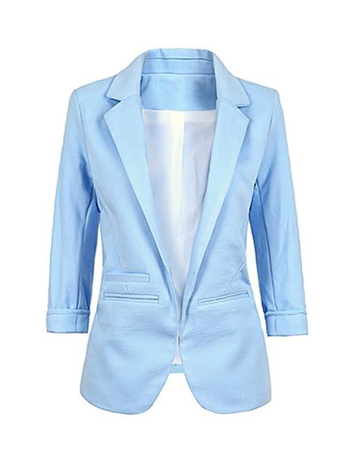 Minetom Mujer Manga 3/4 Blazer Elegante Oficina Negocios Parte Traje De Chaqueta Slim Fit Abrigo Cardigan Outwear Blusa Top: Amazon.es: Ropa y accesorios