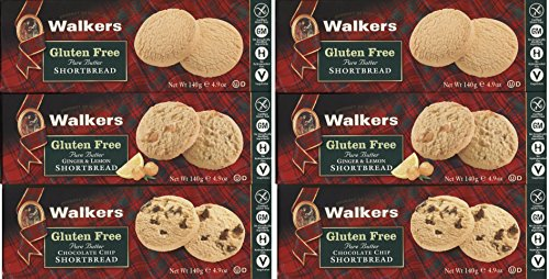 Walkers Gluten Free Pure Butter Shortbread Bundle of 3 Boxes: 2 Each of Shortbread, Chocolate Chip, Ginger and Lemon