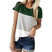 Rambling Fashion Women's Short Sleeve Striped Shirt Casual Horizontal Striped Peasant Blouse