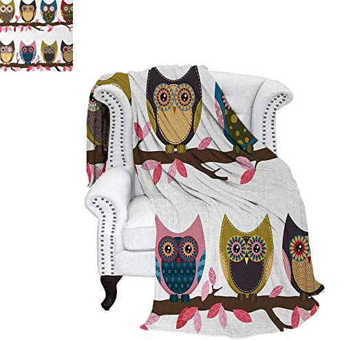 (Weave Pattern Blanket Group of Owls Cute Facial Expressions Winking Smiling Vintage Scrapbooking Retro Art Custom Design Cozy Flannel Blanket 90