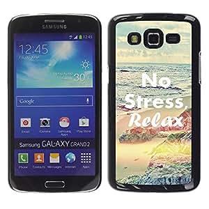 FECELL CITY // Duro Aluminio Pegatina PC Caso decorativo Funda Carcasa de Protección para Samsung Galaxy Grand 2 SM-G7102 SM-G7105 // Relax Yoga Health Sport Calm Peace
