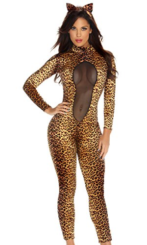 Forplay Kitty Kat Headband and Jumpsuit With Mesh Inset, Brown, Medium/Large