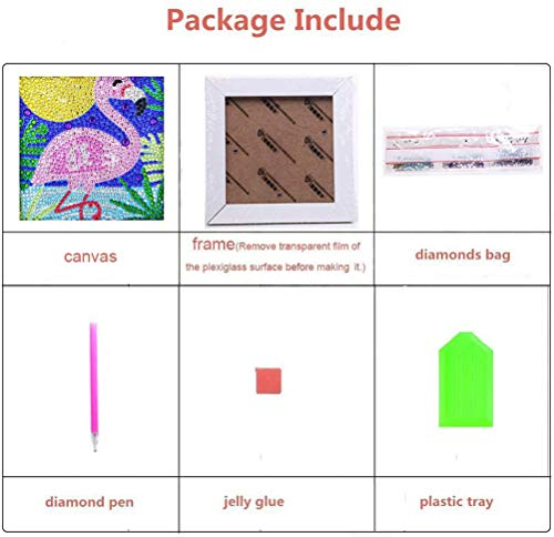 ALTRUB Funny DIY Mosaic Craft Kits Brilliant 5d Diamond Painting Kits with Wooden Frame for Children up 6 Years Old Owl, 6 x 6 inch