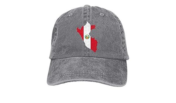 Presock Gorras De Béisbol Peru Flag Map Cowboy Caps Unisex ...