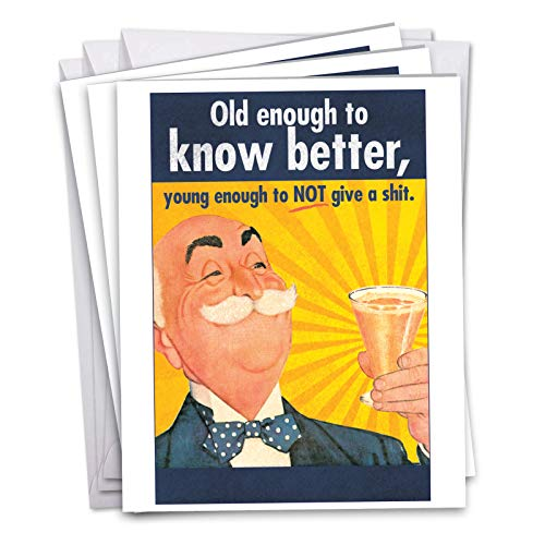 3 Pack of Jumbo - Old Enough Birthday Greeting Card with Envelope 8.5 x 11 Inch - Old Man Drinking Alcohol, Cheers! - Happy Bday Stationery Set for Men, Party Animals J5411BDG3