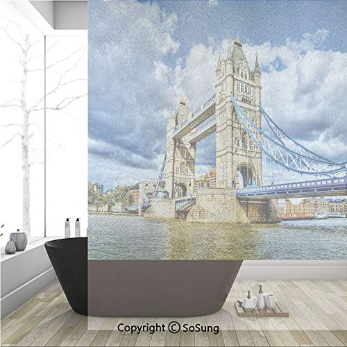 3D Decorative Privacy Window Films,Historical Tower Bridge on River London UK British Day Time International Heritage Decorative,No-Glue Self Static Cling Glass Film for Home Bedroom Bathroom Kitchen