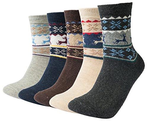 Mens Winter Breathable Comfortable Durable Lightweight Mid Calf Warm Rabbit Wool Casual Crew Socks(5 Pack) Deer (Christmas Mens For Socks)