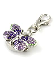 MapofBeauty Gorgeous Key Chain Ring With Butterfly Pendent Pocket Quartz Watch (Purple)