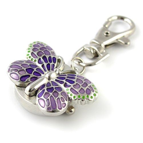 YouYouPifa Children's Alloy Quartz Round Keychain Watches (Purple Cover / White Dial)