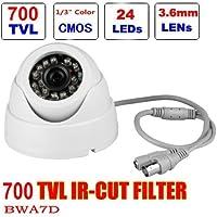BW® BWA7D 1/4 700TVL Indoor Day Night Security Surveillance CCTV Dome Camera With 20M IR Range Night Vision-White