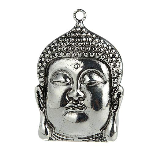 1X Vintage Silver Large Size Buddha Charm Pendant Fit DIY Necklace Jewelry Craft