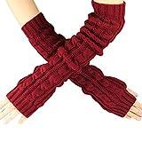 Changeshopping Hemp Flowers Fingerless Knitted Long Gloves (Red)