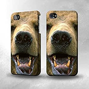 Apple iPhone 4 / 4S Case - The Best 3D Full Wrap iPhone Case - Grizzly Bear Face