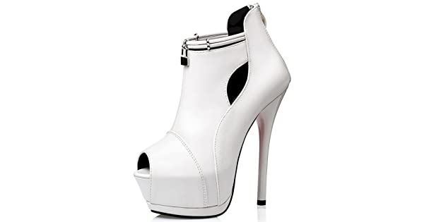 080a2df363 Summerwhisper Women's Sexy Peep Toe Back Zipper Pumps Stiletto Extreme High  Heel Platform Ankle Boots White 7.5 B(M) US