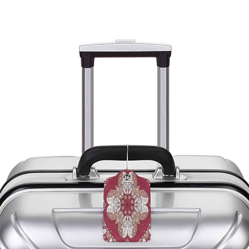Printed luggage tag Classic Decor Collection Complex Geometrical Vintage Persian Egyptian Mystic Moorish Openwork Image Protect personal privacy Dark Pink White W2.7 x L4.6