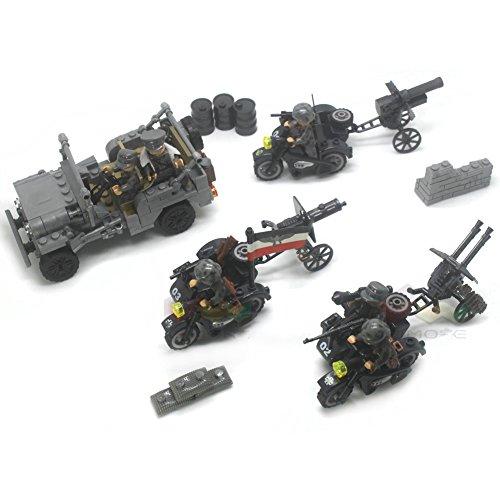 WW2 Military German Blitzkrieg Motorized infantry unit Artillery battalion Building Blocks 250+pcs 6dolls Bricks Toys For ()