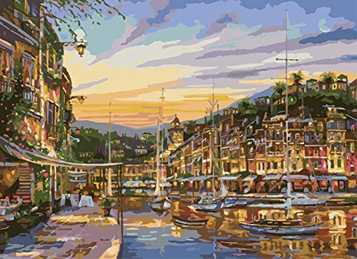YEESAM ART DIY Paint by Numbers for Adults Beginner Kids, Sunset Seaside Ship Scenery 16x20 inch Linen Canvas Acrylic Stress Less Number Painting Gifts (Ship, with Frame)