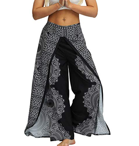 MsAnya Womens Palazzo Slit Wide Leg Pants Summer Casual Beach Boho Hippie Bohemian Pilate Plus Size 10-18 (NewBK, S/M(Waist=29-34