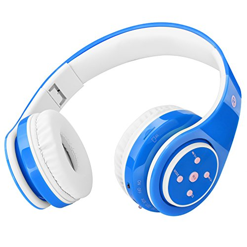 Wireless Bluetooth Headphones for Kids Boys Girls Over Ear,Built-in Mic,Stereo Sound ,3.5mm Audio Jack Cable for Pc Tablet Cellphone(Blue)