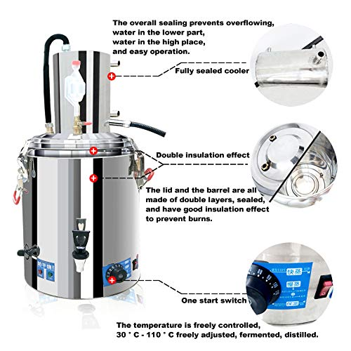 23L Automatic 23//36//45 Litre Home Essential Oil Distillation Apparatus Stainless Steel Boiler Moonshine Still Distiller for Liquor Alcohol Oil Pure Water Spirits with Essential Oil Separator