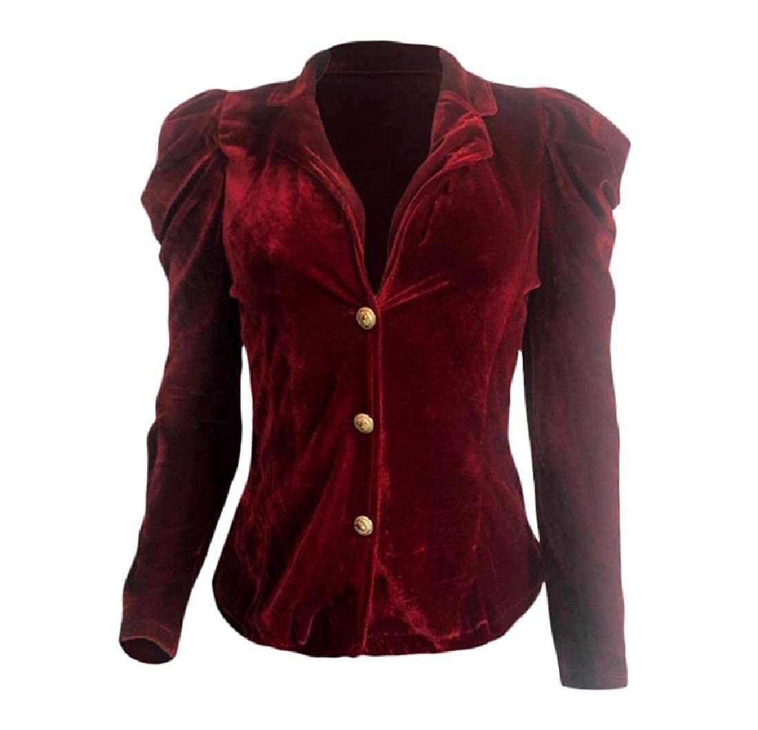 YUNY Women Flouncing Velvet Deep-V Neck Solid-Colored Outerwear Wine red L