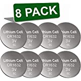 Oniza 8 Pack CR1632 Battery Lithium 3v Batteries for Car Key Remote Watch LED Key fob Replacement