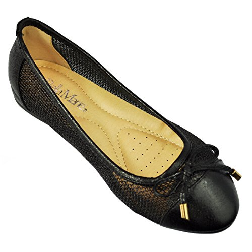 Anna Womens Chain Mesh Ballerina Cap Toe With Bow Tie Ballet Flat Deon 08 By Anna's Footware Color Black Size 9