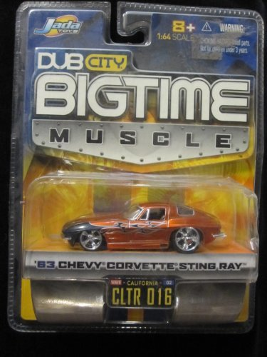 Jada Dub City Big Time Muscle Yellow Racing 63 Chevy Corvette Sting Ray 1:64 Die Cast Car by Jada Toys [parallel import goods]