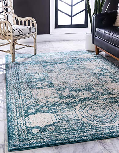 (Unique Loom Bromley Collection Vintage Traditional Medallion Border Turquoise Area Rug (8' x 10'))