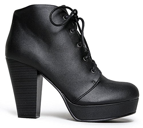 Marco Republic Budapest Platform Chunky Block Stacked Heels Ankle High Pumps Booties Boots - (Black) - - Black Boot Sexy 5 Inch