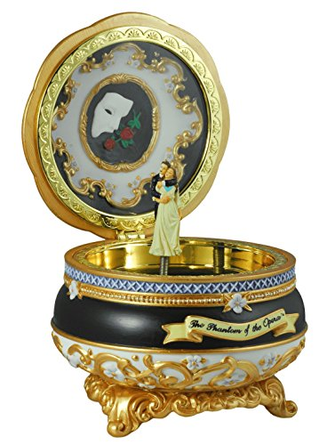 THE SAN FRANCISCO MUSIC BOX COMPANY Phantom and Christine Hinged Trinket (Opera Musical Jewelry Box)