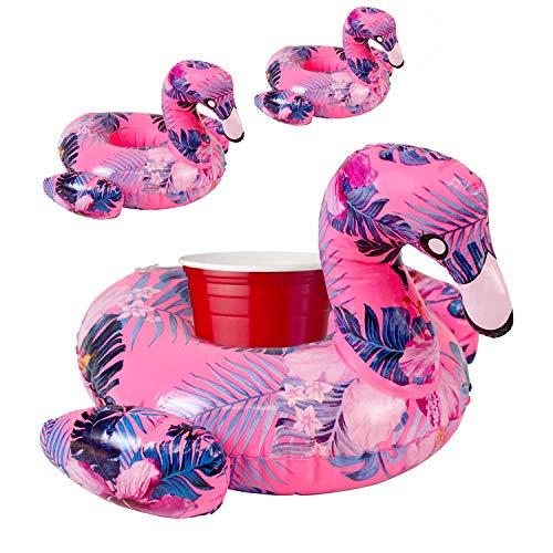 Premium Flamingo Inflatable Drink Floats - 3 Pack of Pool Drink Holder Floats, Unique Design, Floating Cup Holder, Drink coozie