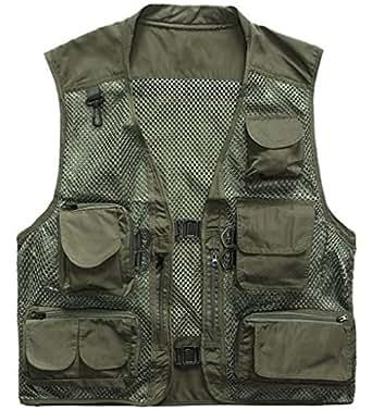 Zshow men 39 s mesh fishing vest multi pockets for Fishing vest amazon