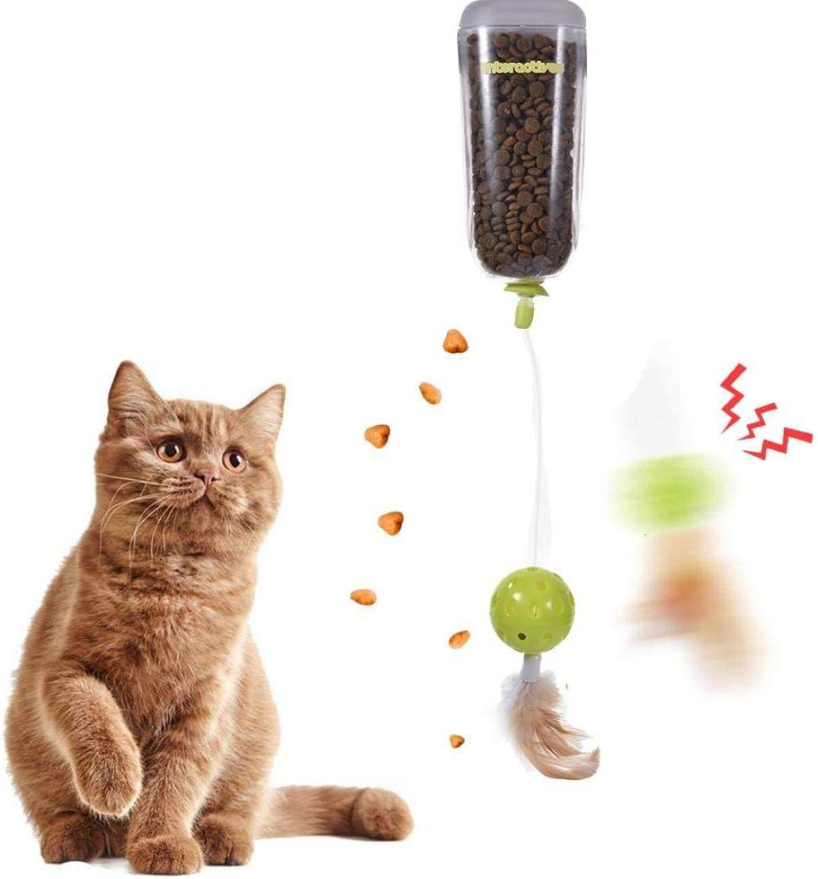 Alimentador Lento de Juguete para Gatos con Plumas de Campana Máquina de recompensas de bocadillos para Gatos Juguetes interactivos para Gatos Juguetes de Plumas Dispensador de Alimentos