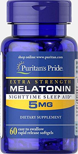 Puritan's Pride Extra Strength Melatonin 5 mg-60 Softgels ()