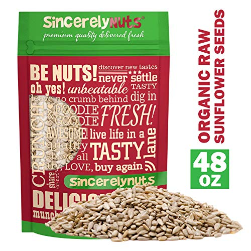 Sincerely Nuts Organic Sunflower Seed Kernels Raw (No Shell) (3lb bag) | Nutritious Antioxidant Rich Superfood Snack | Source of Protein, Fiber, Essential Vitamins & Minerals | Vegan and Gluten Free