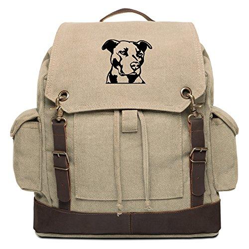 Pitbull Silhouette Vintage Canvas Rucksack Backpack w/Leather Straps, Khaki & Bk