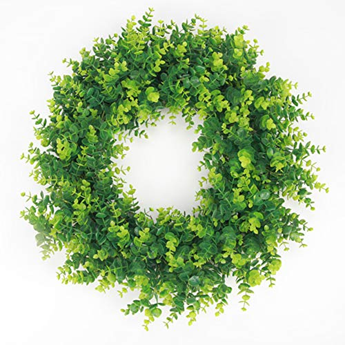 Artificial Boxwood Green Leaves Wreath, Spring Outdoor Wreath