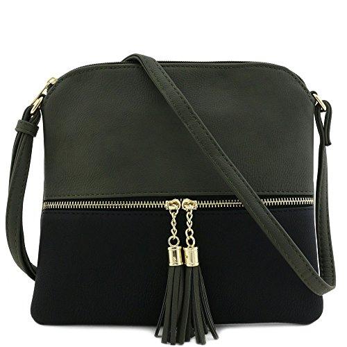 Lightweight Medium Crossbody Bag with Tassel (Dark Grey/Black)