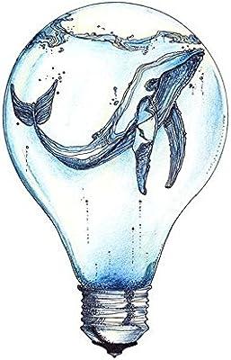 wyuen 5 pcs Watercolor bombilla ballena temporal tatuaje Pegatina ...