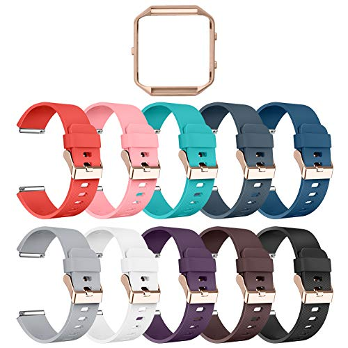 LEEFOX Compatible Fitbit Blaze Bands with Frame, Sport Silicone Replacement Strap for Fitbit Blaze Smart Fitness Watch Accessory Wristbands Large,10Pack w/Rose Gold Frame Men Women