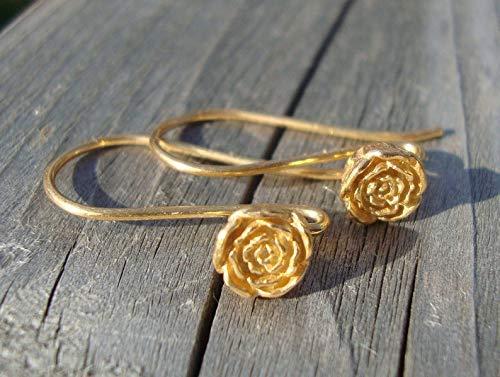 (24k Vermeil Sterling Silver, Vintage Victorian Look Rose Blossom Floral Earwires,1 Pair, 26x5.5mm, Bali Artisan - EW-0012)