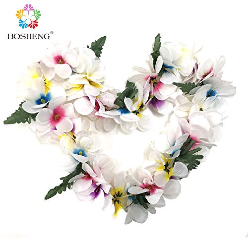 - BOSHENG Hawaiian Plumeria Flower Leis Necklaces for Party Event,Christmas Decoration