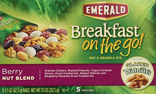 Emerald Breakfast On The Go, Berry Nut Blend, 5 Pouches Per Box (Pack of 4)
